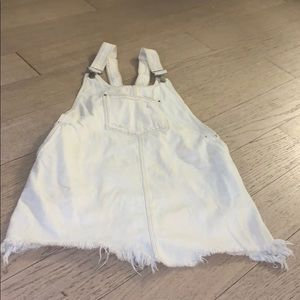 Zara off white denim overall mini dress